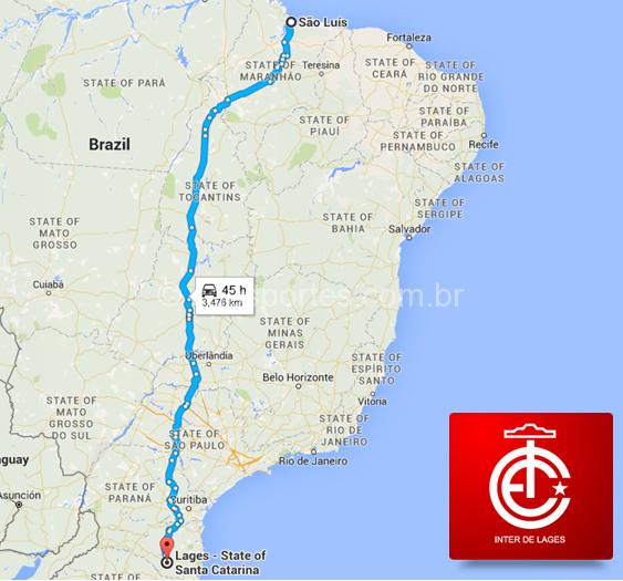 Mapa ilustra a distância por rodovia entre Lages e São Luís (Arte: Inter de Lages)