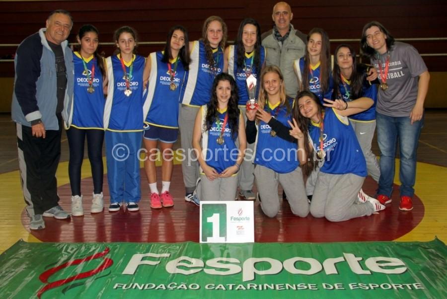Escola Estadual Deodoro, de Concórdia, campeã no basqueteFoto: Antonio Prado/Fesporte