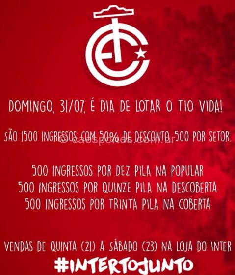 Tabela de preços dos ingressos promocionais para Inter x Caxias (Arte: Fom Conradi)